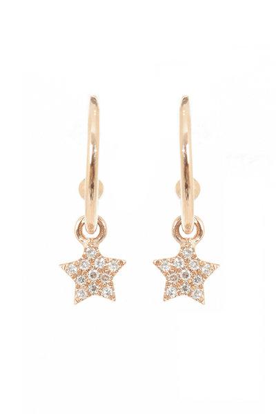 Kai Linz - Rose Gold Dangling Diamond Star Earrings
