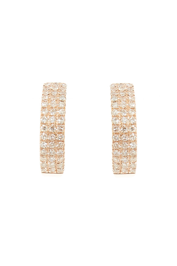Kai Linz Yellow Gold Triple Diamond Huggie Earrings