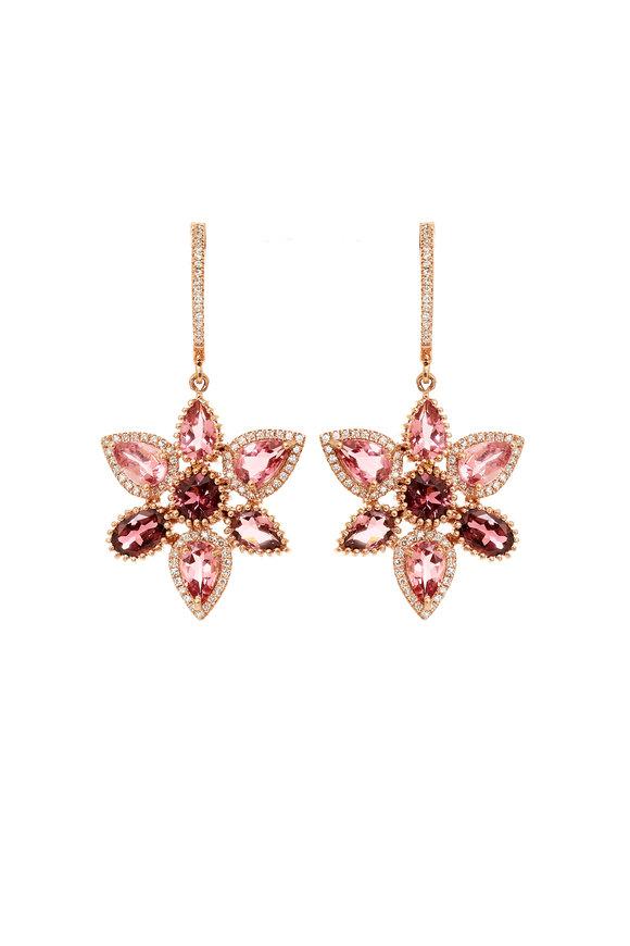 Kai Linz Rose Gold Tourmeline & Diamond Flower Earrings