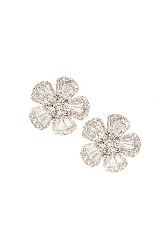 Kai Linz White Gold Diamond Flower Post Earrings