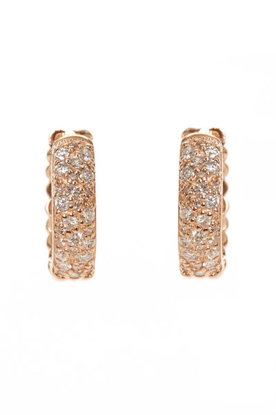Kai Linz - Rose Gold Diamond Bubble Huggie Earrings