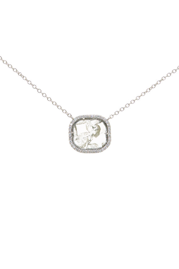Kai Linz 18K White Gold Pavé Diamond Slice Necklace