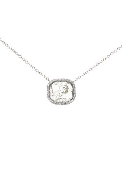 Kai Linz - 18K White Gold Pavé Diamond Slice Necklace