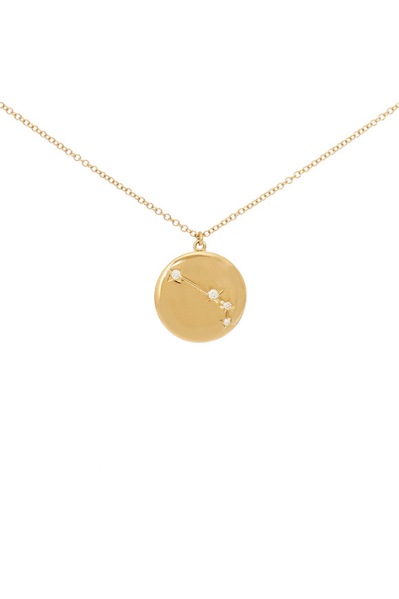 Kai Linz Yellow Gold Aries Zodiac Disc Necklace