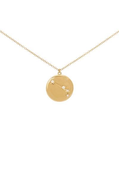 Kai Linz - Yellow Gold Aries Zodiac Disc Necklace