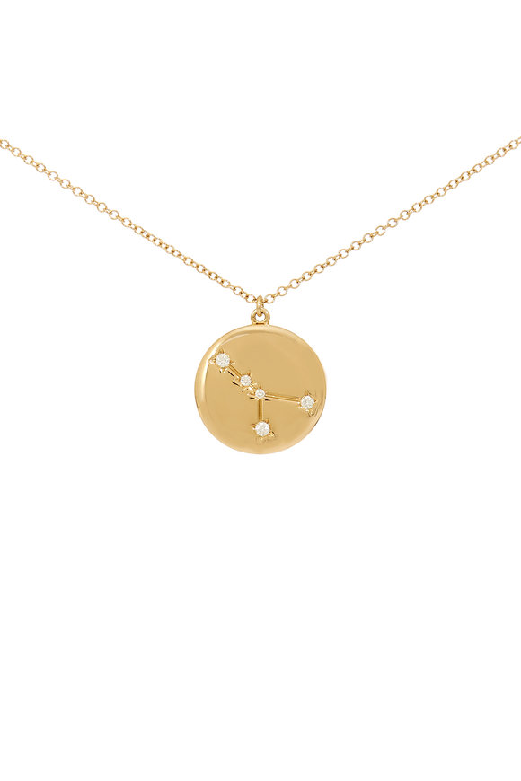 Kai Linz Yellow Gold Cancer Zodiac Disc Necklace