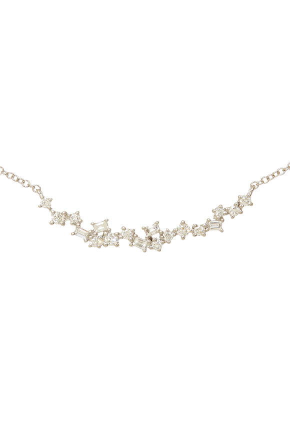 Kai Linz White Gold Diamond Bar Necklace