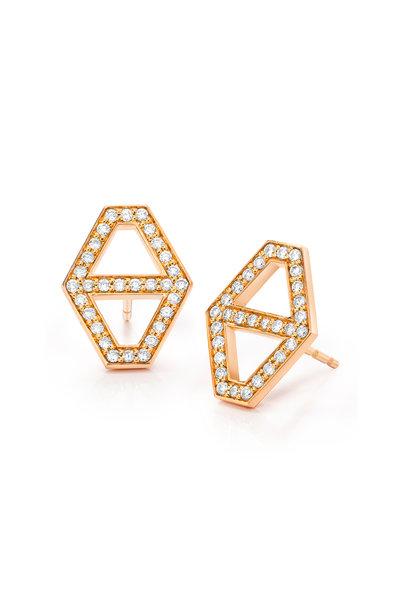 Walters Faith - 18K Rose Gold Keynes Diamond Hexagon Stud Earrings