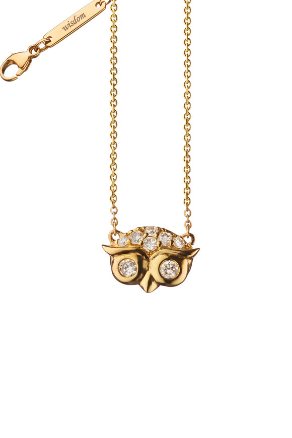 Monica Rich Kosann 18K Yellow Gold Pavé Mini Owl Charm Necklace