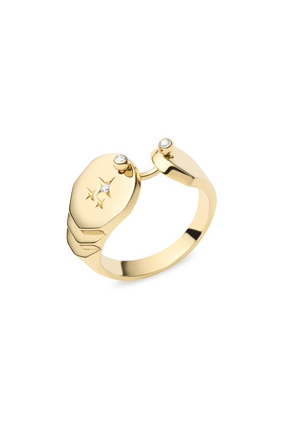 Nouvel Heritage 18K Yellow Gold Sparkles Signet Ring