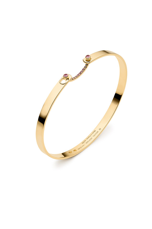 Nouvel Heritage Yellow Gold Pink Sapphire Mood Cuff