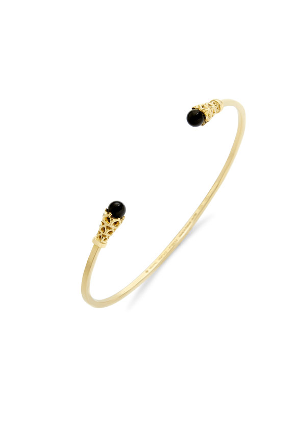 Nouvel Heritage 18K Yellow Gold Onyx Cuff