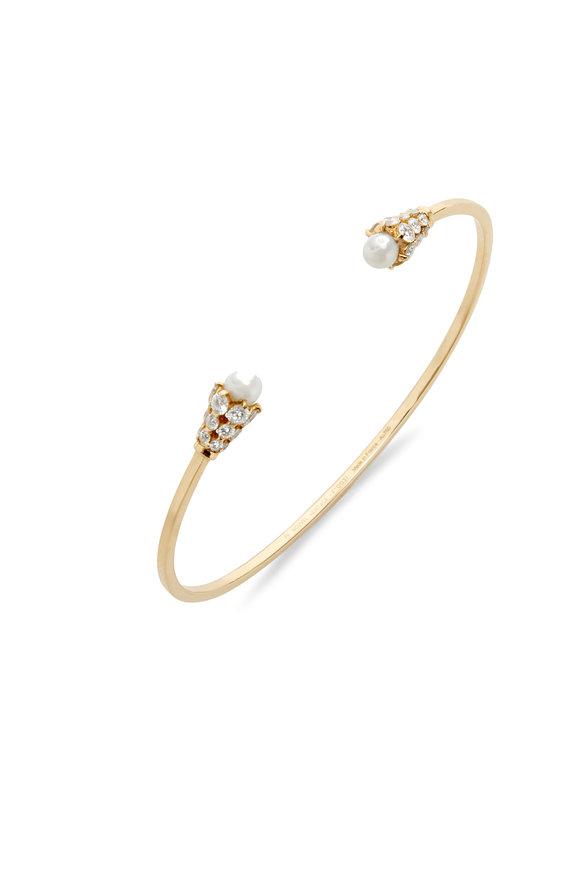 Nouvel Heritage 18K Yellow Gold Diamond & Pearl Cuff