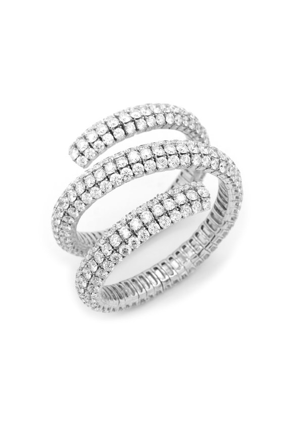 Louis Newman White Gold Diamond Wrap Around Bracelet