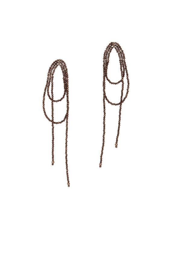 Brunello Cucinelli Bronze Monili Beaded Twist Earrings