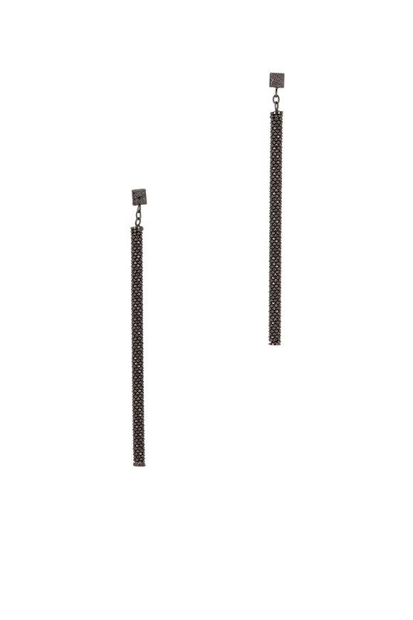 Brunello Cucinelli Ultra Black Monili Thin Column Earrings