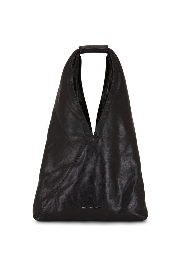 Brunello Cucinelli Black Glossy Leather Monili Trim Hobo Bag