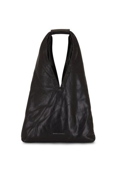 Brunello Cucinelli - Black Glossy Leather Monili Trim Hobo Bag