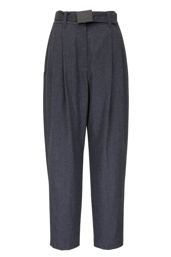 Brunello Cucinelli Solid Dark Grey Wool Soft Double-Pleated Pant