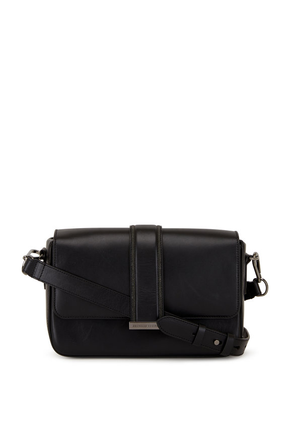 Brunello Cucinelli Black Leather Monili Trim Box Shoulder Bag