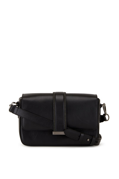 Brunello Cucinelli - Black Leather Monili Trim Box Shoulder Bag