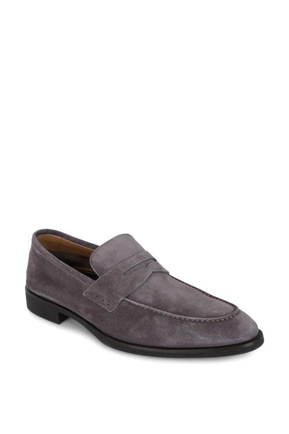 Di Bianco Gray Suede Penny Loafer