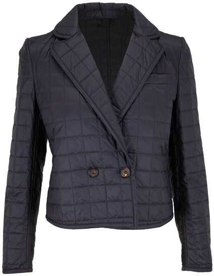 Brunello Cucinelli Black Quilted Nylon Double-Breasted Jacket