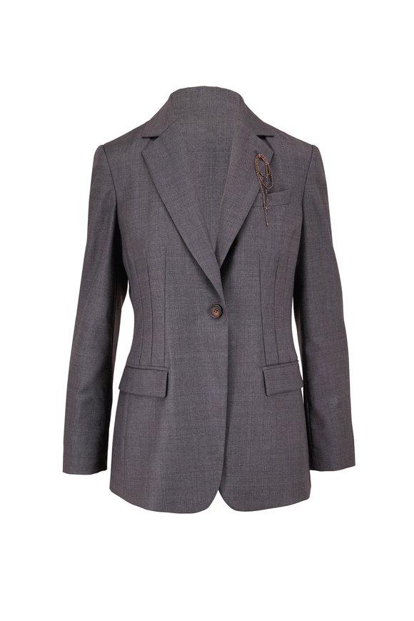 Brunello Cucinelli Solid Sharkskin Gray Wool Seamed Jacket