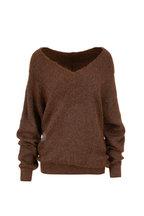 Brunello Cucinelli - Brwon Mohair Lurex Wide V-Neck Pullover Sweater