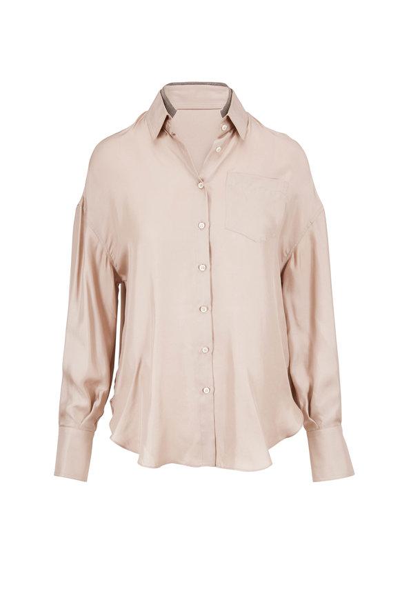 Brunello Cucinelli Linen Matte Silk Button Down Monili Collar Blouse