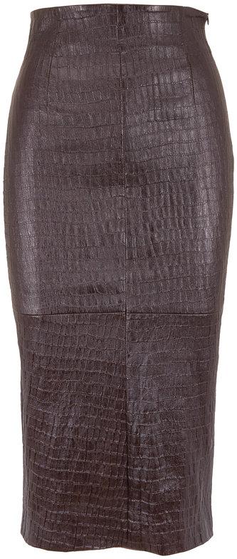 Brunello Cucinelli Dark Brown Leather Snakeskin Embossed Pencil Skirt