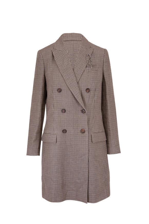 Brunello Cucinelli Rosemary & Black Linen & Wool Herringbone Topper