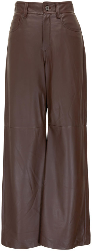 Brunello Cucinelli Chocolate Leather Five Pocket Wide Leg Pant