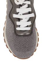 Brunello Cucinelli - Light Gray Metallic Knit & Leather Sneaker
