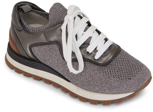 Brunello Cucinelli Light Gray Metallic Knit & Leather Sneaker