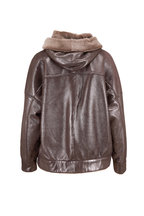 Brunello Cucinelli - Metallic Shearling Hooded Banded Hem Coat