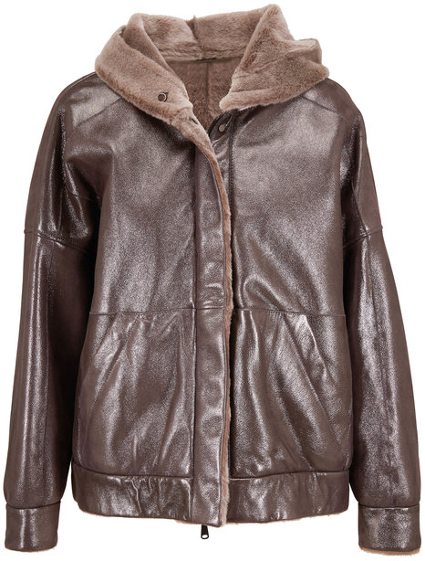 Brunello Cucinelli Metallic Shearling Hooded Banded Hem Coat