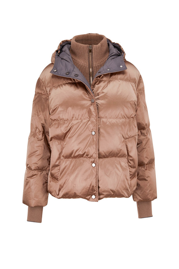 Brunello Cucinelli Tobacco Nylon Shiny Short Hooded Puffer Coat