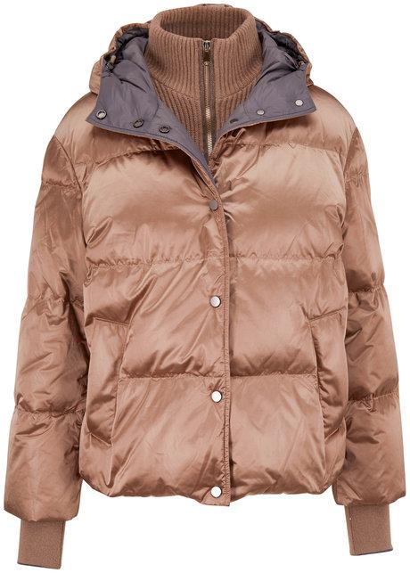 Brunello Cucinelli Tobacco Nylon Shiny Short Hooded Puffer Coat