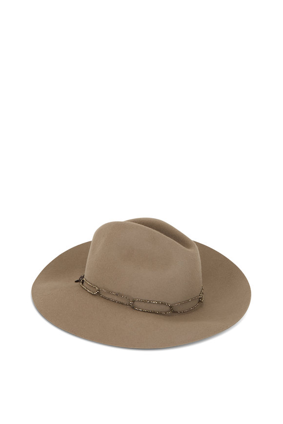 Brunello Cucinelli Cashmere With Beaded Loop Necklace Wide Brim Hat