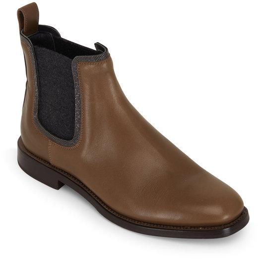 Brunello Cucinelli Light Brown Leather Monili Trim Chelsea Boot