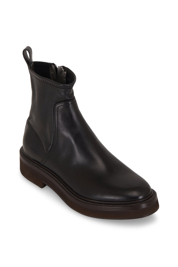 Brunello Cucinelli Black Stretch Leather Monili Trim Ankle Boot