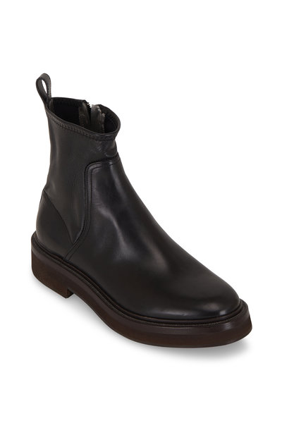 Brunello Cucinelli - Black Stretch Leather Monili Trim Ankle Boot