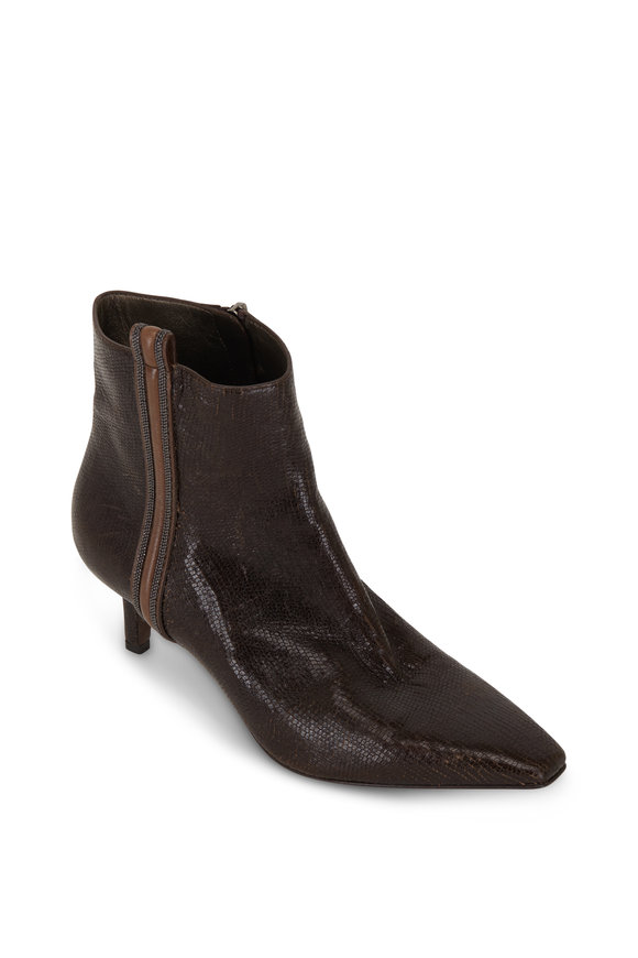 Brunello Cucinelli Brown Lizard Embossed Monili Trim Ankle Boot, 55mm
