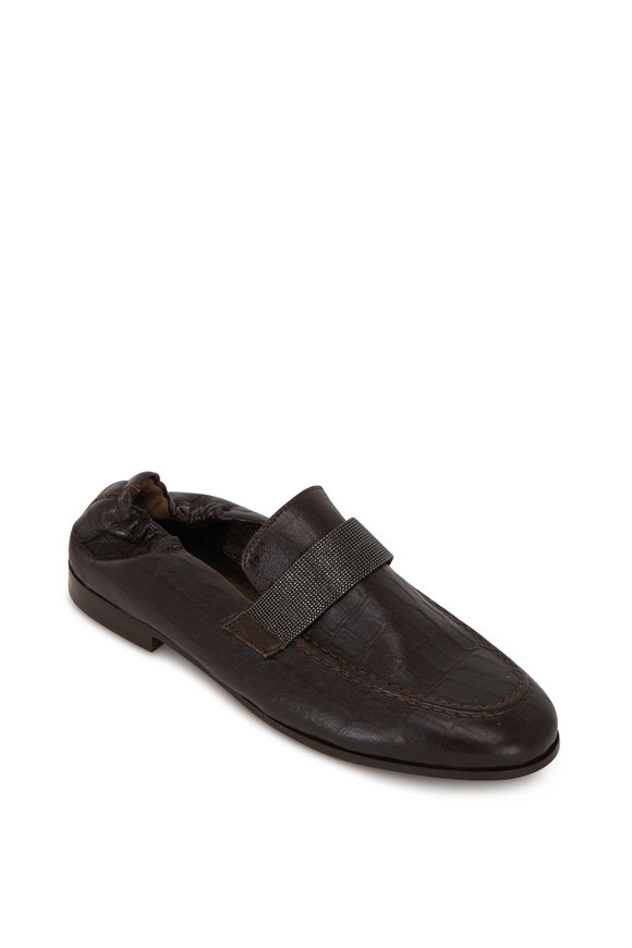 Brunello Cucinelli Brown Croc Embossed Leather Monili Loafer