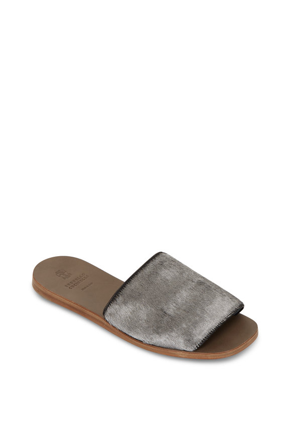 Brunello Cucinelli Silver Calfhair One Band Flat Slide