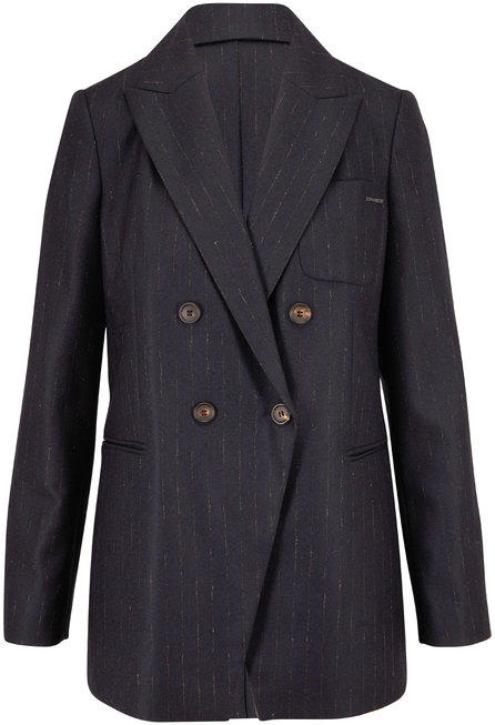 Brunello Cucinelli Midnight Faint-Pinstriped Double-Breasted Jacket