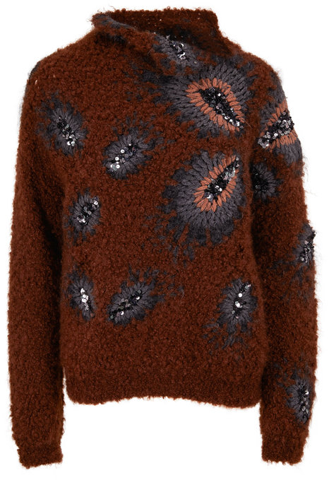 Brunello Cucinelli Brown Curly Mohair & Cashmere Mockneck Sweater