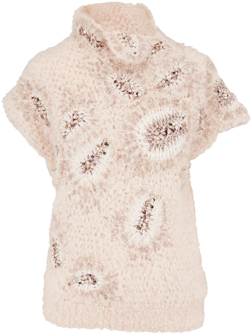 Brunello Cucinelli Off White Curly Mohair Blend Cap Sleeve Sweater