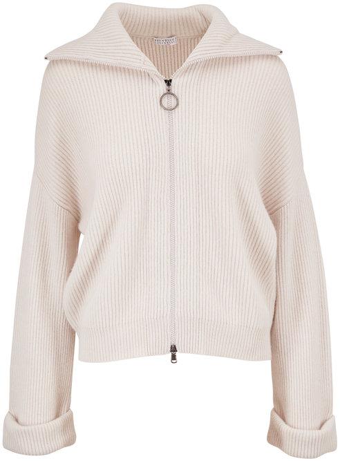 Brunello Cucinelli Warm White Ribbed Cashmere Zip-Up Turtleneck